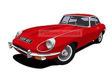 JAGUAR E TYPE CAR ART PRINT PICTURE (SIZE A4). PERSONALISE IT!