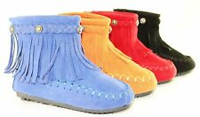 Baby Boots Flat Comfort Ankle High Fashion Cute Fringe Moccasin Style Faux Suede