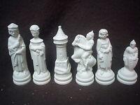 E147 - 32 Piece Ceramic Bisque Medieval SMALL Scioto Chess Set