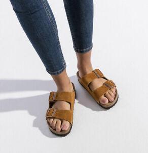 Birkenstock Arizona Suede Slide Sandal: Size 39N: Mink (141)