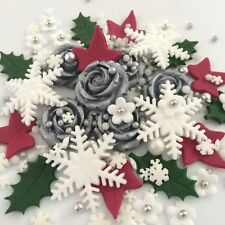 SILVER CHRISTMAS BOUQUET Edible Sugar Paste Flowers Cup Cake Decorations Toppers