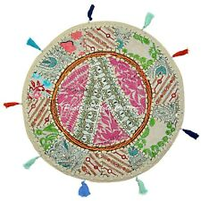 Boho Floor Pillow Cover Round Patchwork Vintage Adults Embroidered Cotton 18x18