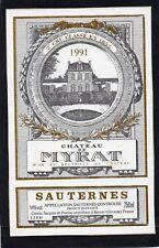 SAUTERNES 2E GCC VIEILLE ETIQUETTE CHATEAU DE MYRAT 1991 RARE   §16/03/18§