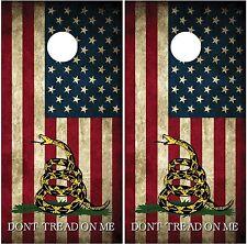Gadsden American Flag Vintage Distressed #2 Cornhole Decal Wrap Wraps