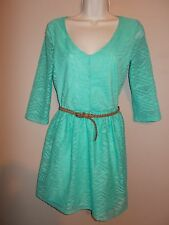 Charlotte Russe Womens Size M Semi-Sheer Lined Green Belted Basic Dress 3/4 Slev