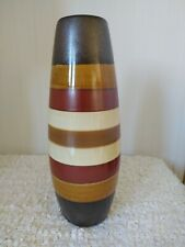 TALL  VASE WITH COLOURED HOOP DESIGN.