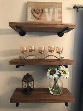 "10"" Deep Industrial Floating Shelf, Rustic Shelf, Pipe Shelf"