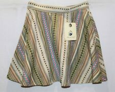 Mika & Gala Brand Brown Textured Embroidered ALine Mini Skirt Size 6 BNWT #TP118