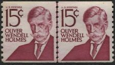 Scotts #1305E  15c   OLIVER WENDELL HOLMES COIL JOINT LINE PAIR, MNH