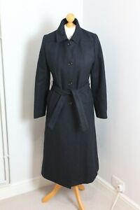 Vintage Richard Shops Wool Blend Navy Belted Trench Frock Coat (See Description)