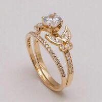2Ct Women's Engagement Bridal Ring Set Round Cut VVS1 Diamond 14K Yellow Gold Fn