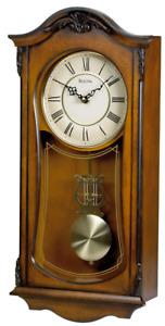 Bulova Wooden Westminster Chime Quartz Pendulum Wall Clock Cranbrook C3542