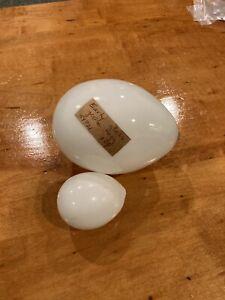 Early Glass Goose Egg Decoy Bird & 1 Smaller Decoy Egg.