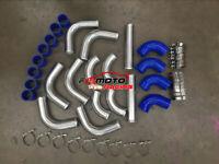 "3"" 76MM Aluminum Universal 12pcs Intercooler Turbo Piping+BLUE hose+T-Clamp kit"