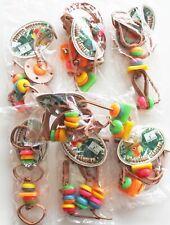 6 PCS Wrangler Dangler Leather Bead Hanging Bird Cage Toys Medium Large Foraging
