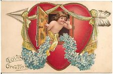 """Loving Greetings"" Cupid in Large Heart Valentine Postcard 1911"