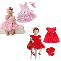 Infant Girls Baby Rose Flower Tutu Dress +Headband Outfit Clothes Birthday Party