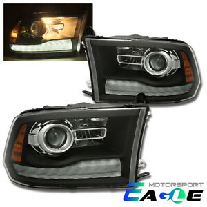 Fit 2009-2018 Dodge Ram 1500/2500/3500 Black LED DRL Projector Headlights