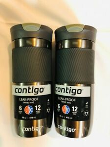 Contigo Snapseal Byron Vacuum-Insulated Stainless Steel Travel Mug 16 oz -2 PACK