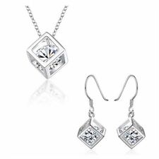 Women's Silver Cube Necklace & Earrings Set Crystal Stone Gift Stocking Filler