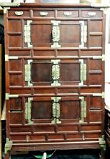 Antique Korean Wood Cabinet With Bronze Fittings And Handles, 18th Century