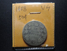1908 50 Cent Coin Canada Edward VII Fifty Cents .925 Silver Key Date VG