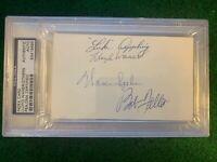 PSA Multi Autograph 3x5 Index Luke Appling, Lloyd Waner, Warren Spahn,Bob Feller