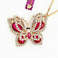 Betsey Johnson Crystal Rhinestone Butterfly Pendant Sweater Chain Necklace Gift