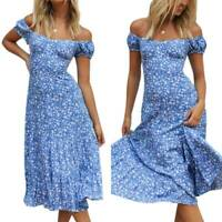 Boho Women's Summer Floral Ruffle Midi Dress Ladies Holiday Beach Sun Dresses