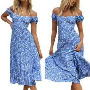 Boho Women's Summer Floral Ruffle Midi Dress Ladies Holiday Beach Sun Dresses