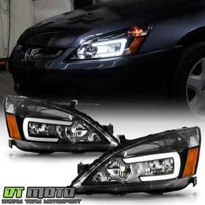 For 2003-2007 Honda Accord Black LED Tube Headlights Headlamps Pair Left+Right
