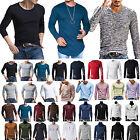 da uomo manica lunga slim T-shirt MUSCOLO Camicia casual maglietta maglia moda