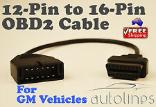 12 PIN To 16 PIN OBD2 OBDII Cable Adapter Car Diagnostic Connector For GM