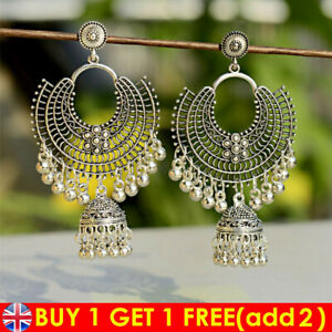 Traditional Retro Oxidized Silver Jhumka Earrings Gift Indian Bollywood Jewelry*