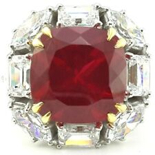 925 Sterling Silver Ring 10ct Ruby White Emerald Round Solitaire Cz -À la carte