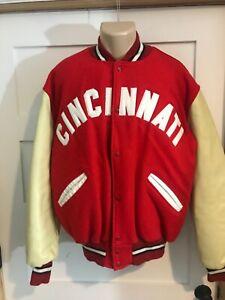 Vtg Cincinnati Reds DeLong Baseball Jacket coat sz Large - Long Leather Sleeves