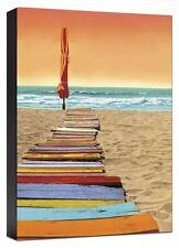 Orange Beach Walk Umbrella Seascape  Ready To Hang Fine Art Canvas 36x24