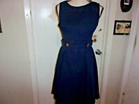 ModCloth Something Sixties A-line Dress Size 6 Flower Button Navy Blue (B147)