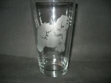 New Etched Old English Sheepdog Pint Glass Tumbler