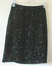 VINTAGE 1990s MONSOON TWILIGHT SKIRT BLACK DEVORE VELVET SILK BEADS SZ 8 10
