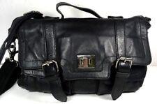 Audrey Brooke GETAWAY Soft Black Leather Satchel Crossbody Bag- WELL WORN