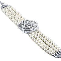 Ladies Fashion  Pearls Crystal Rhinestone Rose Flower Bracelet Bangle Cuff A110