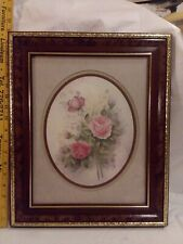 Signed Wyona Newton Homco Bouquet of Pink Roses Wood Framed Matted Wall Art