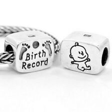 Birth Record Charm Bead 925 Sterling Silver