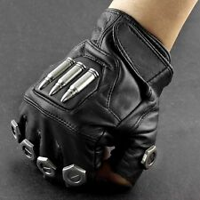 Steampunk Bullet Vintage Mens Fingerless Leather Gloves Cosplay Custome Party