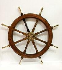 "36"" Nautical Marine Wooden Steering Ship Wheel Brass Handle Pirate Captain Ship"