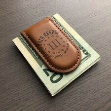 3 PERCENTER OATH KEEPER AGAINST ALL ENEMY MAGNETIC BROWN LEATHER MONEY CLIP NEW