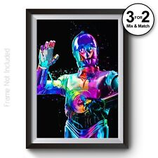 Star Wars Abstract Painting C-3po Classic Movie Droid Wall Art Poster Prints