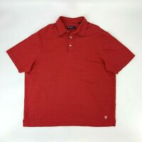 Cremieux Polo Shirt Men's Size XL Red Pima Cotton Striped Short Sleeve Athletic