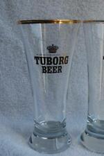 2 Tuborg Beer Gold Trim Pilsner Glasses/Steins/Shells .3 Litre VINTAGE Denmark